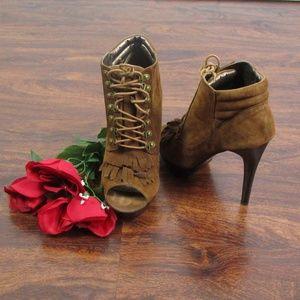 NYLA Sabie Brown Lace-Up Kiltie Peep-Toe Booties 9